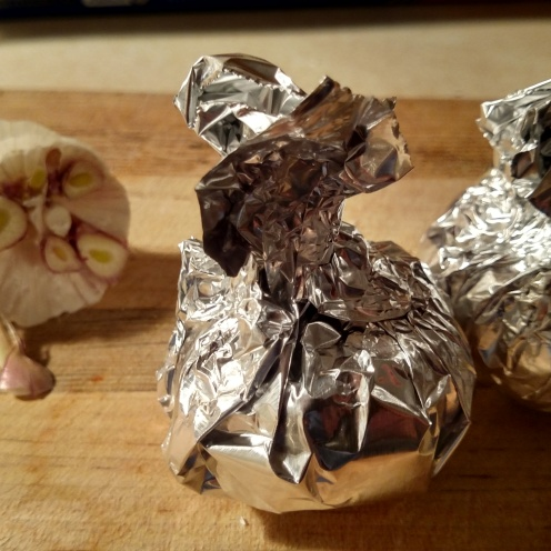 garlic wrapped in foil