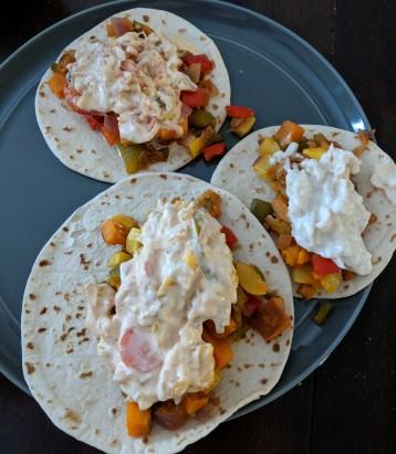 Plant based tacos with sauerkraut slaw