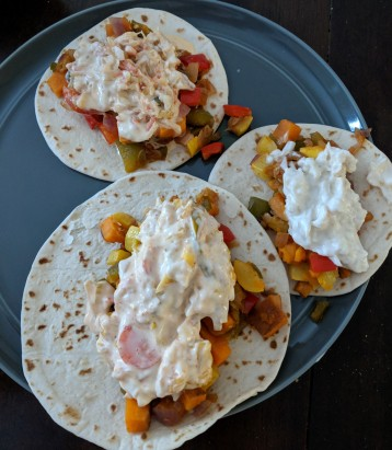 Plant based tacos with sauerkraut slaw